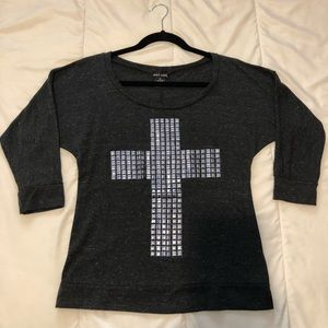 Wet Seal Studded Cross Gray 3/4 Sleeve Shirt M